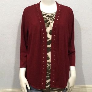 JM Collection Maroon Studded Open Front Cardigan L